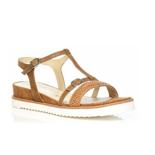Flat Sandal 7.42.45.00 in COGNAC with braid, very soft very comfort