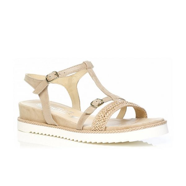 Flat Sandal 7.42.45.02 in camel with braid, very soft very comfort