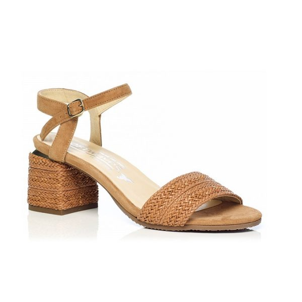 WOMAN SHOES HEEL SANDALS IN COGNAC 7.92.10.00 LIGHT COMFORT