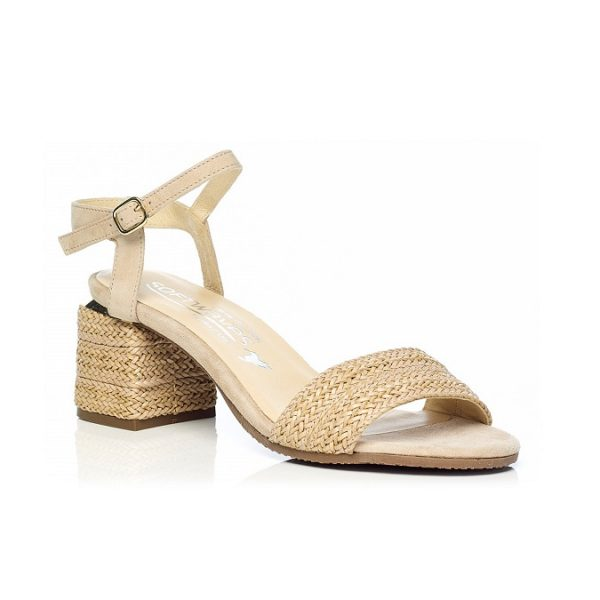 WOMAN SHOES HEEL SANDALS IN CAMEL 7.92.10.01 LIGHT COMFORT