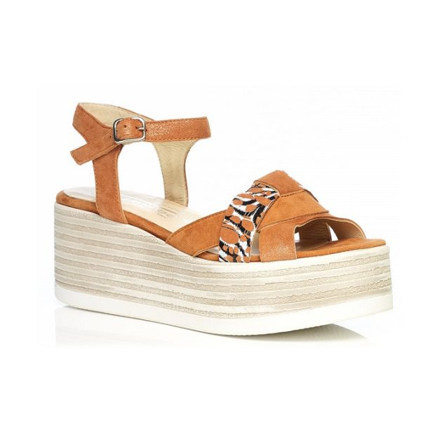 WOMAN SHOES WEDGE SANDALS IN COGNAC 7.94.07.05 LIGHT COMFORT