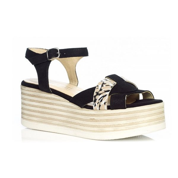 WOMAN SHOES WEDGE SANDALS IN BLACK 7.94.07.07 LIGHT COMFORT
