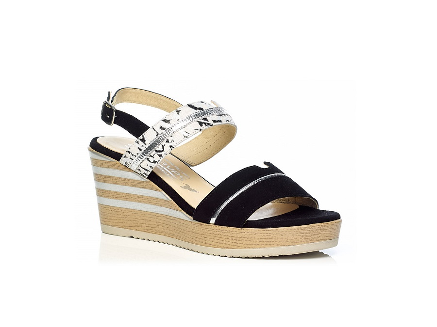 WOMAN SHOES: WEDGE SANDALS 7.95.02.23 IN BLACK, VERY LIGHT AND SOFT