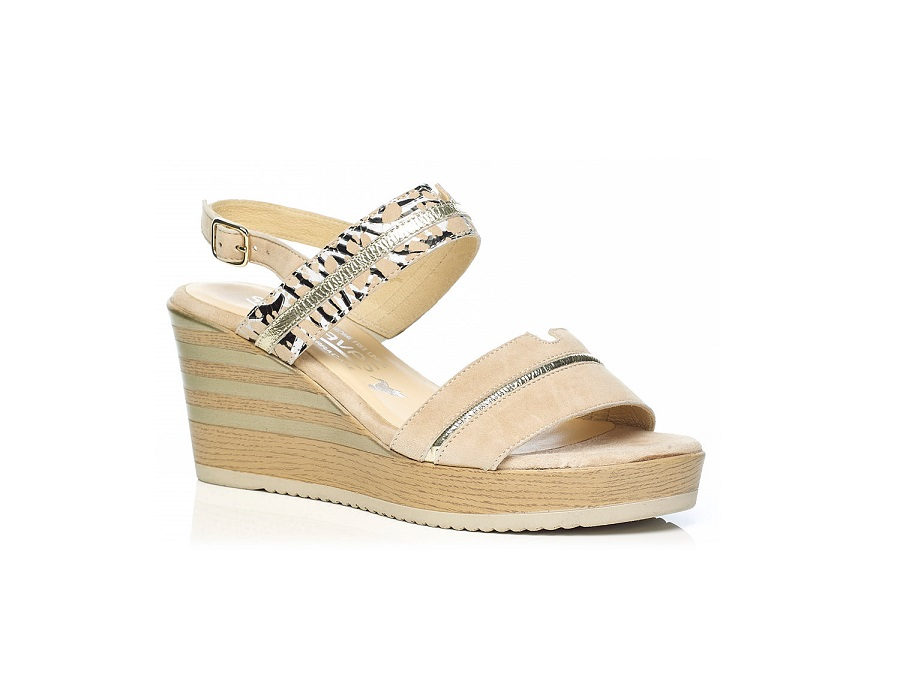 WOMAN SHOES: WEDGE SANDALS 7.95.03.21 IN CAMEL, VERY LIGHT AND SOFT