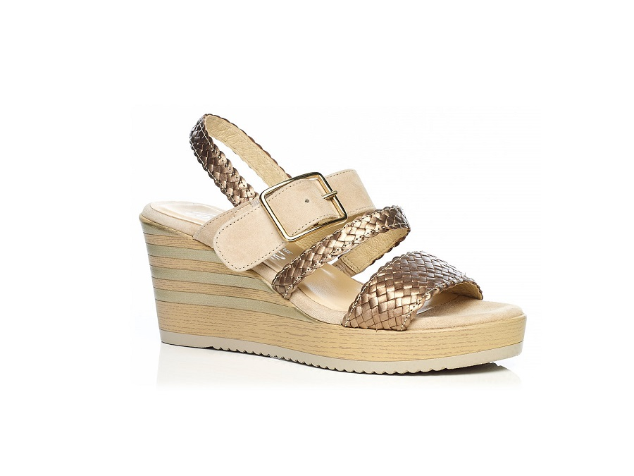 WOMAN SHOES: WEDGE SANDALS 7.95.11.00 IN COGNAC, VERY LIGHT AND SOFT