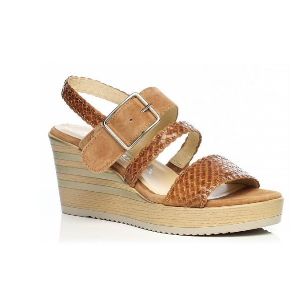 WOMAN SHOES WEDGE SANDALS IN COGNAC 7.95.11.02, LIGHT COMFORT