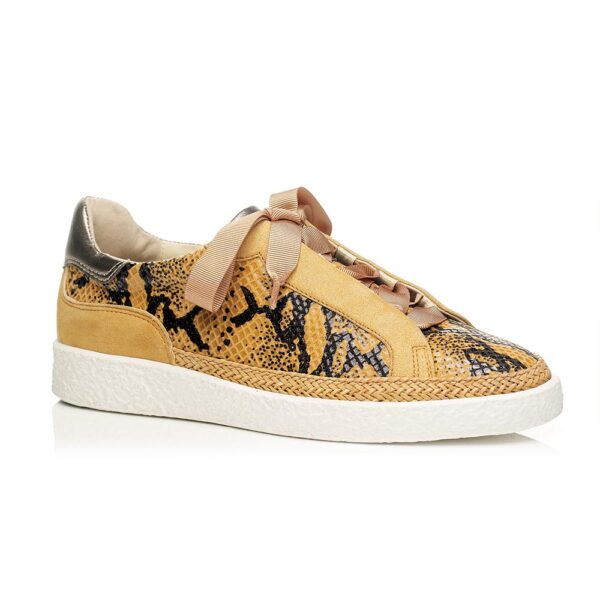 FLAT SNEAKERS IN COLOR SAFRON, WITH PYTHON FANTASY LEATHER