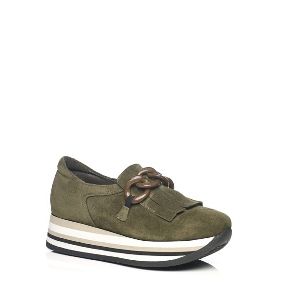 SOFTWAVES SNEAKERS IN KAKI WITH TRIM