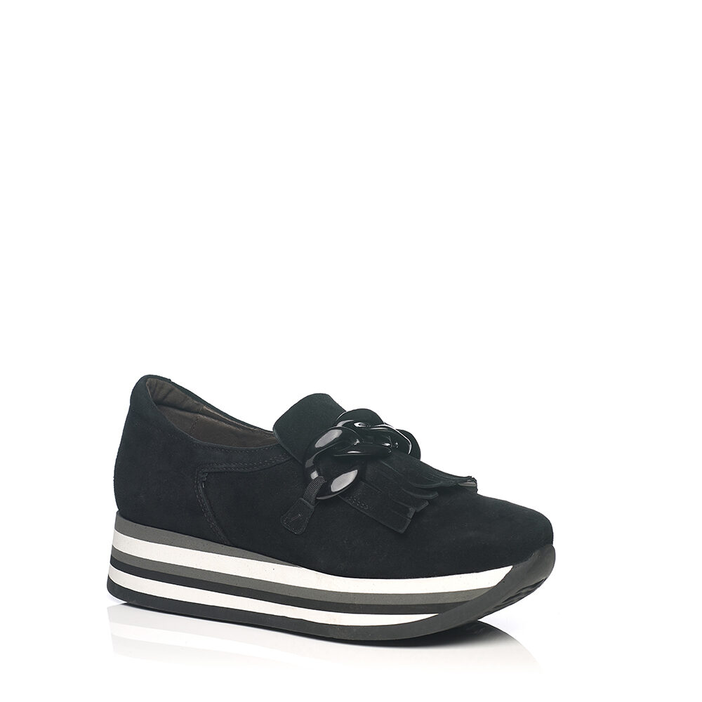 SOFTWAVES WEDGE SNEAKERS IN BLACK WITH A TRIM