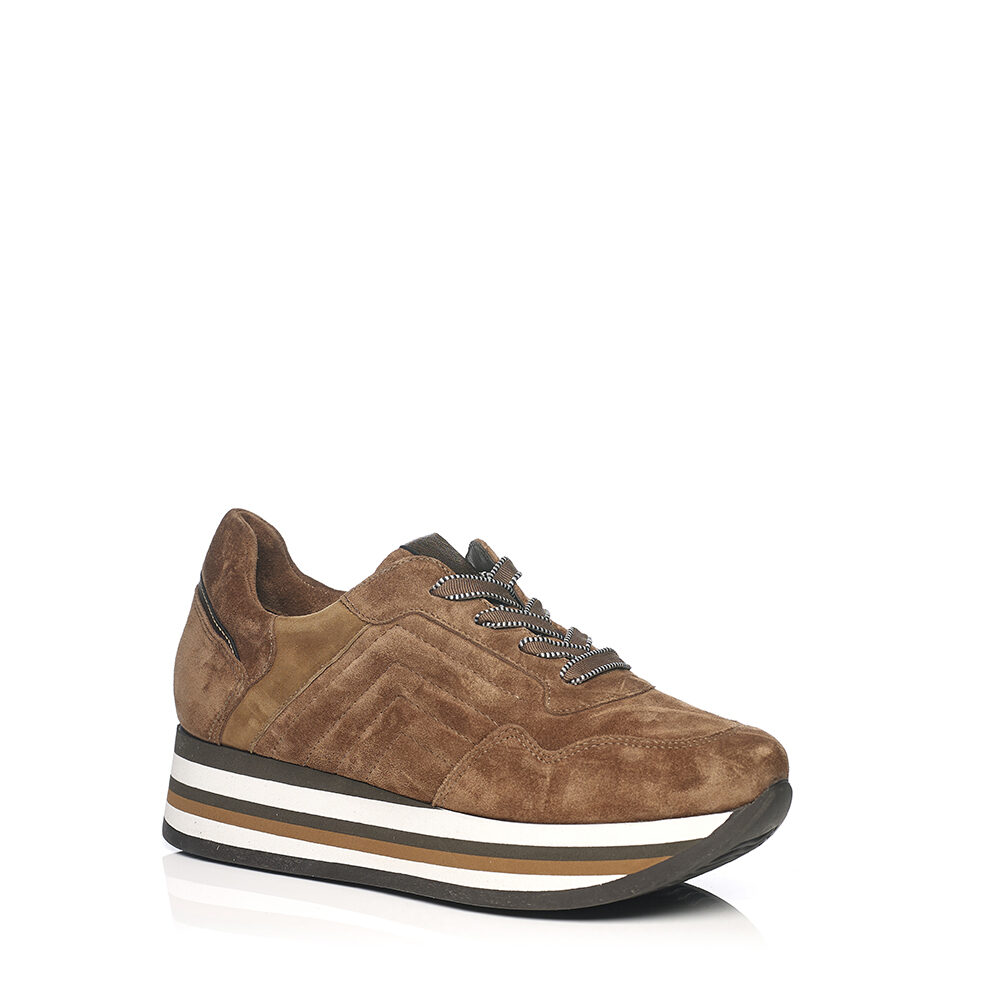 SOFTWAVES SNEAKERS IN VELOUR COGNAC WITH LACES COMFORT AND LIGHT