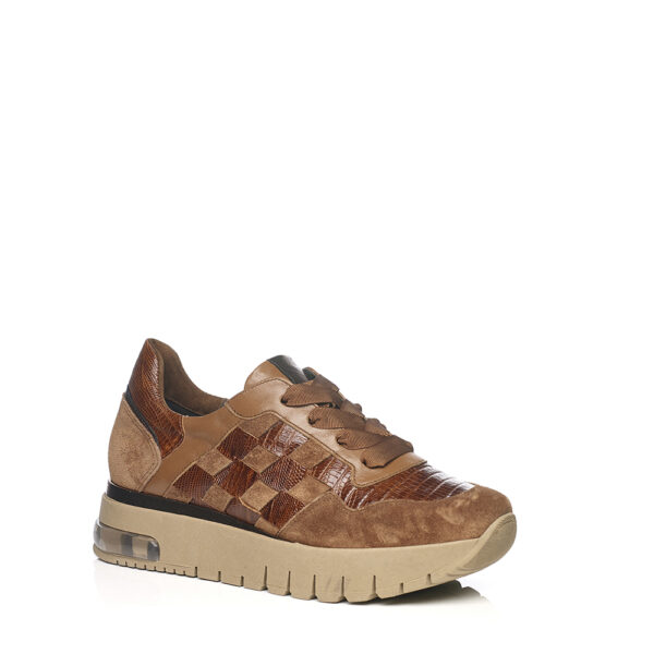 SOFTWAVES WEDGE SNEAKERS WITH PATCHWORK IN COGNAC